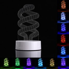 3D Spiral Shape RGB USB Night Light Color Changing LED Table Lamp + 24 Key Controller Xmas Gift
