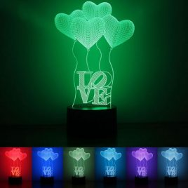 Colorful Heart Balloon 3D Touch Control USB LED Desk Table Light Night Lamp