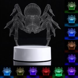 3D Spider LED USB Night Light 7 Color Change Table Desk Lamp Christmas Gift + Remote