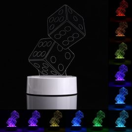 3D Dice Shape RGB USB Night Light Color Changing LED Table Lamp + 24 Key Controller Xmas Gift