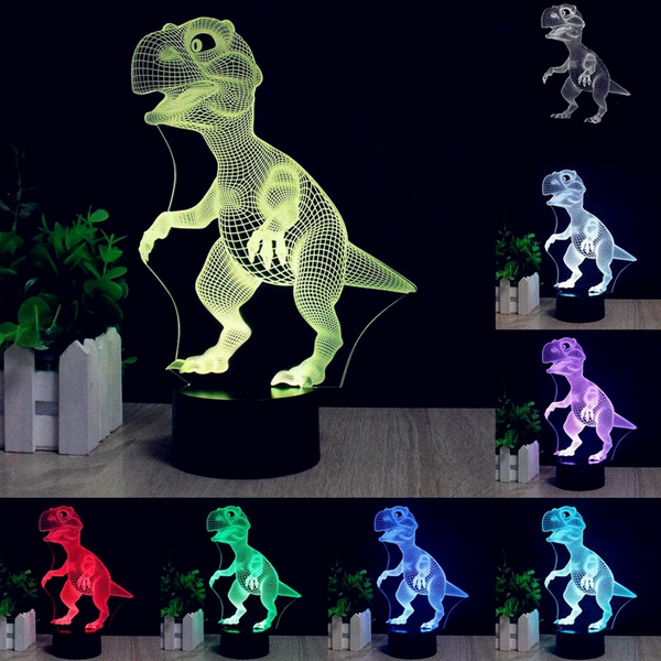 3D Dinosaur LED Desk Table Lamp 7 Color Changing USB Night Light 5V