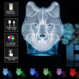 3D Wolf Head Remote Control LED Night Light 7 Color Change Table Desk Lamp Gift