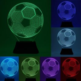 3D Bulbing Football Soccer Night 7 Multicolor Changing LED Desk Table Light Lamp