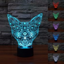 3D Cat Night Light 7 Color Change LED Art Desk Table Lamp For Toy Gift