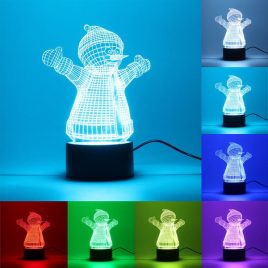 3D Xmas Snowman Night Light 7 Color Changing LED Art Desk Table Lamp For Toy Gift