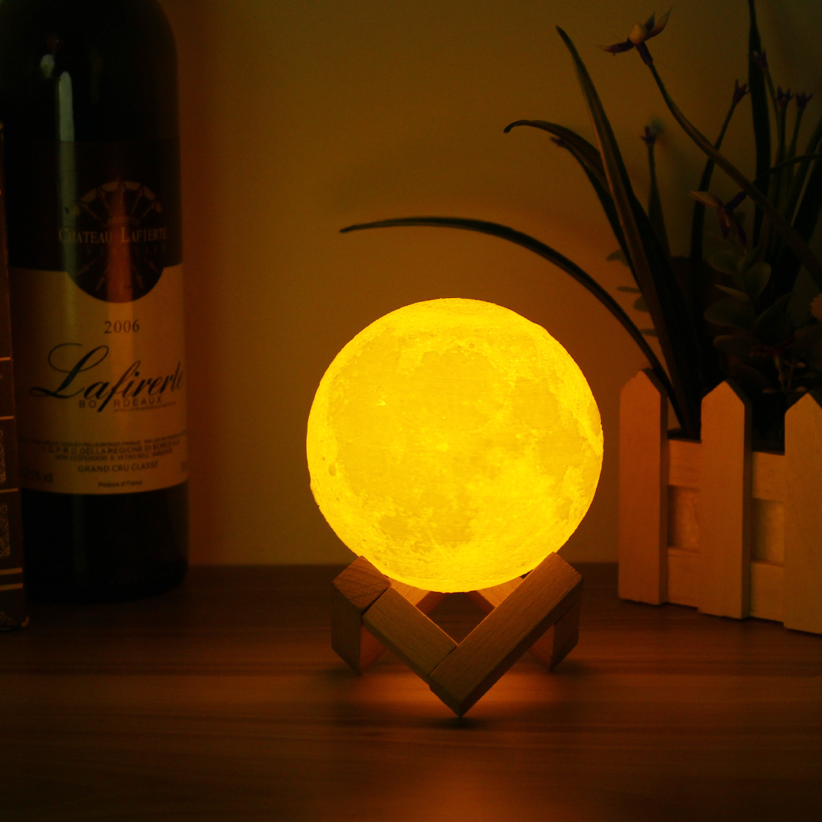 10cm 3D Magical Two Tone Moon Lamp USB Charging Luna LED Night Light Touch Sensor Gift