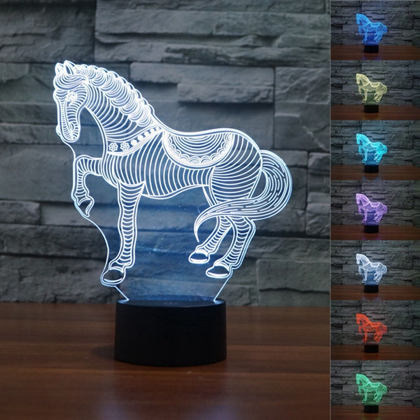 3D Horse LED Lamp 7 Color Change Touch Sensor Night Light Christmas Gift Party Decor