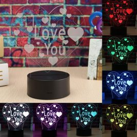 LED 3D Colorful I Love You Night Light Remote Control Touch Sensor Desktop Lamp