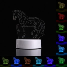 3D Horse Shape RGB USB Night Light Color Changing LED Table Lamp + 24 Key Controller Xmas Gift