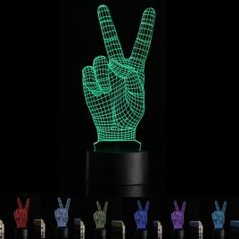 3D V-sign Illusion LED Table Desk Light USB 7 Color Changing Night Lamp Home Decor
