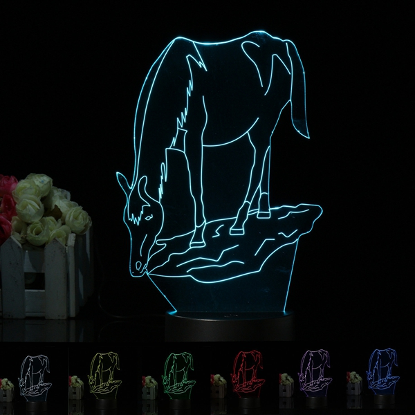 3D Illusion Horse 7 Color Change Touch Switch Night Light LED Desk Lamp