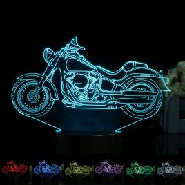 3D Illusion Motorcycle LED Desk Lamp 7 Color Change Touch Switch Night Light