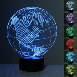 3D Illusion Earth 7 Color Change Night Light Touch Switch LED Desk Table Lamp