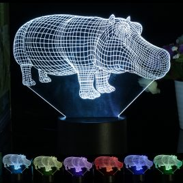3D Hippo Desk Table Lamp 7 Color Changing LED Night  Light Decor Xmas Gift