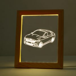 KCASA FL-730 3D Photo Frame Illuminative LED Night Light Wooden Car Desktop Decorative USB Lamp for Bedroom Art Decor Christmas Gifts