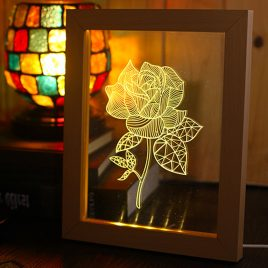 KCASA FL-731 3D Photo Frame Illuminative LED Night Light Wooden Flower Desktop Decorative USB Lamp for Bedroom Art Decor Christmas Gifts