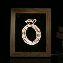 KCASA FL-728 3D Photo Frame Illuminative LED Night Light Wooden Ring Desktop Decorative USB Lamp for Bedroom Art Decor Christmas Gifts