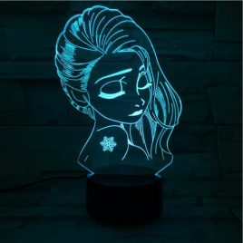 Creative USB 3D LED Lights Beautiful Queen Shape Colorful Touch Night Light Christmas Gift