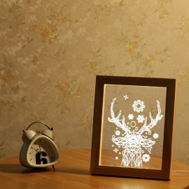 KCASA FL-715 3D Photo Frame Illuminative LED Night Light Wooden Christmas Deer Desktop Decorative USB Lamp For Bedroom Art Decor Christmas Gifts