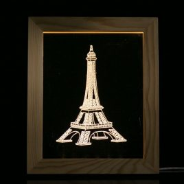 KCASA FL-727 3D Photo Frame Illuminative LED Night Light Wooden Eiffel Tower Desktop Decorative USB Lamp for Bedroom Art Decor Christmas Gifts