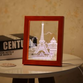 KCASA FL-712 3D Photo Frame Illuminative LED Night Light Wooden Eiffel Tower Desktop Decorative USB Lamp For Bedroom Art Decor Christmas Gifts