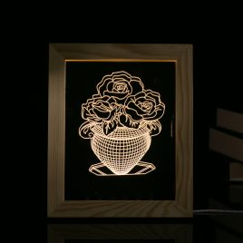 KCASA FL-721 3D Photo Frame LED Night Light Wooden Vase Decorative Christmas Gifts USB Lamp