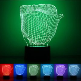 3D Illuminated Illusion Color Changing Rose LED Desk Night Light Lamp
