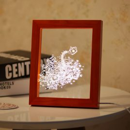 KCASA FL-708 3D Photo Frame Illuminative LED Night Light Wooden Flower Desktop Decorative USB Lamp