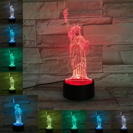 Loskii DL-3D8 Statue of Liberty USB Battery 3D LED Lights Colorful Touch Control Night Light Gift
