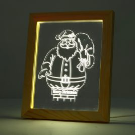 KCASA FL-713 3D Photo Frame Illuminative LED Night Light Wooden Santa Claus Desktop Decorative USB Lamp For Bedroom Art Decor Christmas Gifts