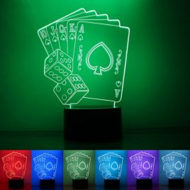 Playing Card 3D Touch Control 7-Color Changing USB LED Desk Table Night Light Lamp