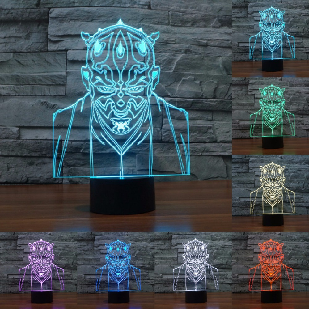 Creative Star Wars 7 Color Changing Usb 3d Touch Bulbing