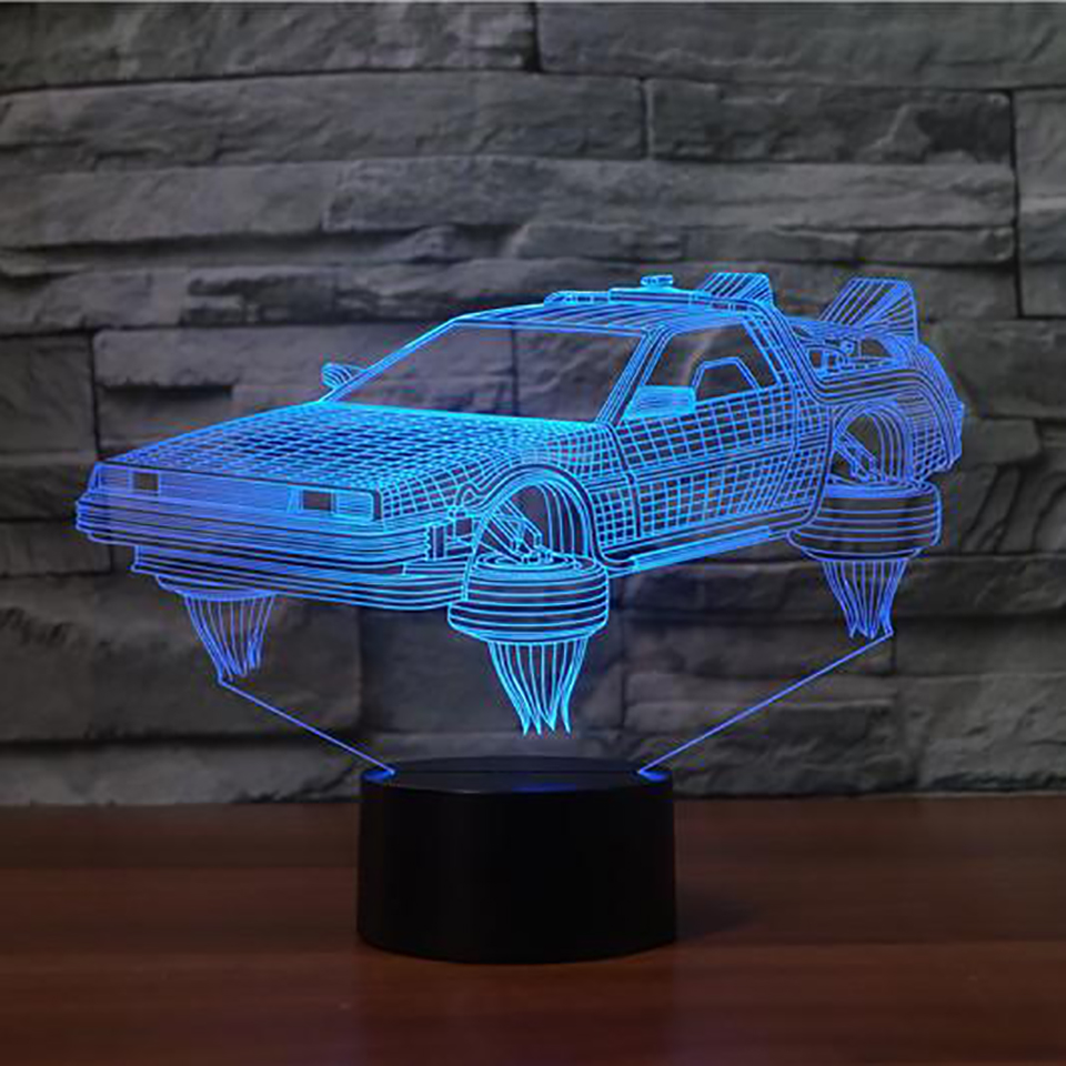 Back to the future delorean 3d sports car table lamp creative 7 interesting 3d sports car table lamp creative 7 mozeypictures Choice Image