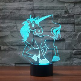 Unicorn 3D Table Lamp 7 Colorful Acrylic Led Luminaria Animal Night Light Novelty Bedside Baby Sleep Lighting Decor Xmas Gifts
