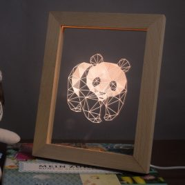 KCASA FL-707 3D Photo Frame Illuminative LED Night Light Wooden Panda Desktop Decorative USB Lamp For Bedroom Art Decor Christmas Gifts