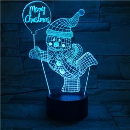 Merry Christmas Skiing Snowman USB 3D LED Lights Colorful Touch Night Light
