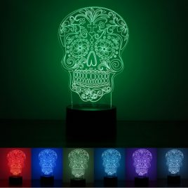3D Illuminated Illusion Color Changing Skull LED Desk Night Light Lamp