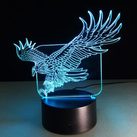 Loskii DL-3D10 Fly Eagle USB 3D LED Lights Colorful Touch Night Light Christmas Gift