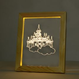 KCASA FL-714 3D Photo Frame Illuminative LED Night Light Wooden Castle Desktop Decorative USB Lamp For Bedroom Art Decor Christmas Gifts