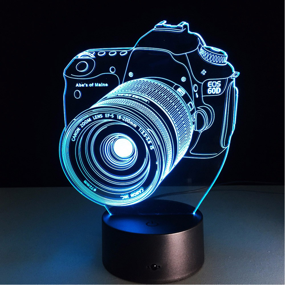 Loskii DL-3D7 Digital Camera 3D LED Lights Colorful Touch Night Light Christmas Gift