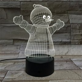Christmas Snowman 3D LED Lights Colorful Touch Night Light Gift USB Table Visual Lights
