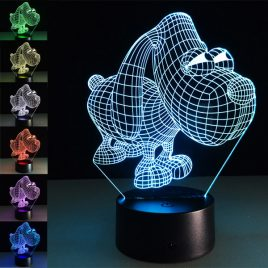 Loskii DL-3D3 Cute Big Eye Dog USB Battery 3D LED Lights Colorful Touch Control Night Light Gift
