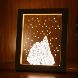 KCASA FL-725 3D Photo Frame Illuminative LED Night Light Wooden Snow Mountain Desktop Decorative USB Lamp For Bedroom Art Decor Christmas Gifts