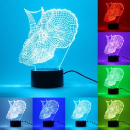 USB 7 Color Changing 3D Dinosaur LED Night Light Touch Desk Table Lamp