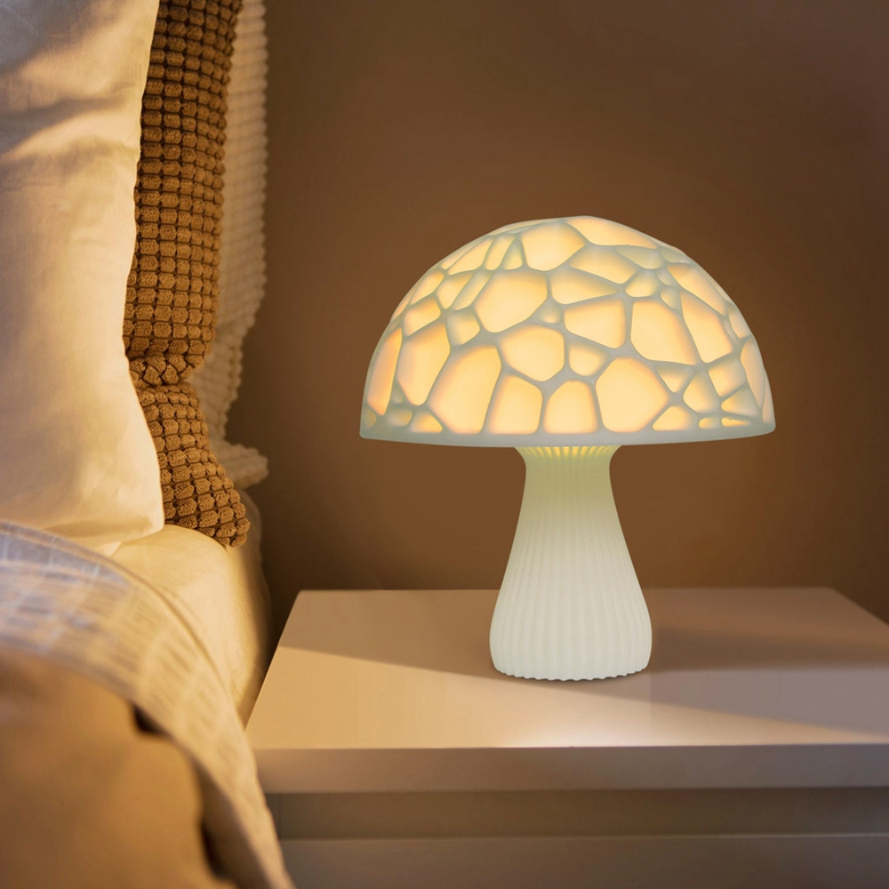 15cm 3D Mushroom Night Light Touch Control 2 Colors USB Rechargeable Table Lamp for Home Decoration